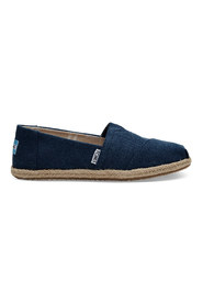 TOMS CLASSIC NAVY WASHED CANVAS ROPE SOLE