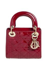 Pre-owned  Cannage Patent Leather Mini Chain Lady Dior Tote