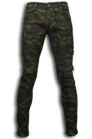Exclusive Ripped Jeans - Slim Fit Biker Jeans Zipped Knæ