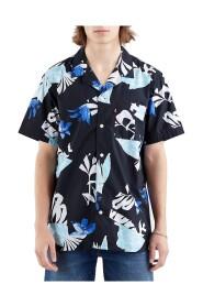 Camisa Cubano Collage Marino Para Hombre