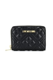 Logo plaque quilted wallet