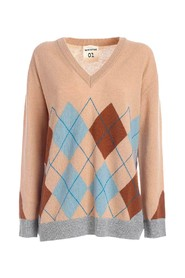 Gertrude sweater with pink rhombus inlay
