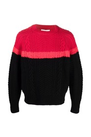 Red and black braided sweater