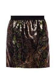 Sequined skirt with leopard print
