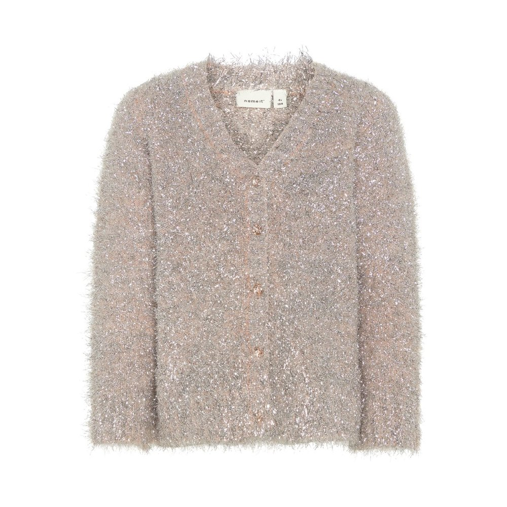 Cardigan knitted silver tinsel