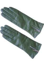 Women's glove Lambskin Zipper Dark green