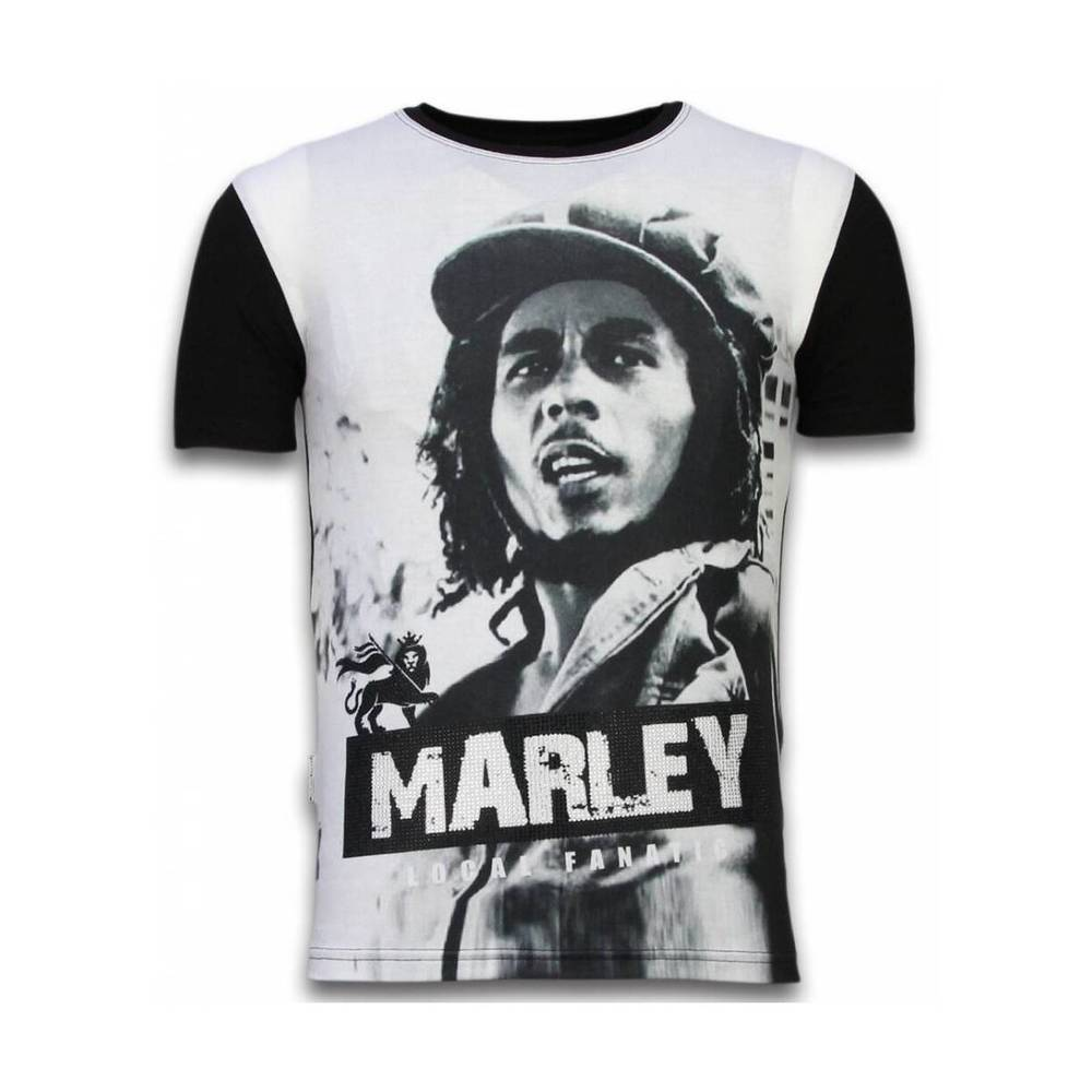 Bob Marley Black And White - Digital Rhinestone T-shirt