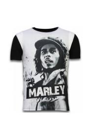 Bob Marley sort / hvid - Digital Rhinestone T-shirt