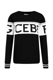 Sweater with logoed band