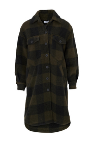 Long Coat Checked Wool Cardigan