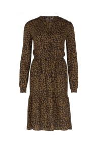 BOBBI W20 Bohemian jurk met vlekkendessin Tabacco