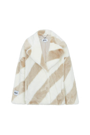 Jakke Fake Fur Rita Sand Stripe