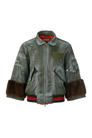 Ghost Bomber Jacket with Fur Cuffs