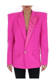 Shoulder-pad single-breasted blazer