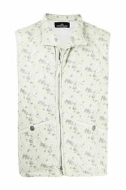 Quilted Vest Zipped With Abstract Print