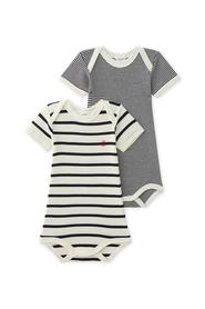 Petit Bateau - Bodies, Baby Unisex SS, 2-pak - Coquille Beige / Smoking Blue