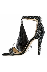 Hot Fix Crystal Embellished Sandals with an Ostrich Feather Tassel