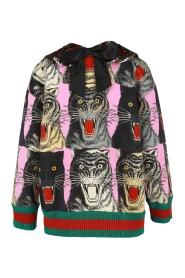 Tiger Print Pullover Sweatshirt