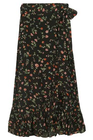 Ganni Georgette Printed Wrap skirt Black