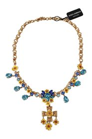 Floral Crystal Charm Brass Statement Necklace