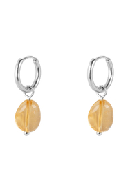 Citrine Stone Small Hoops X My Jewellery