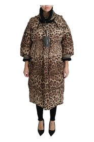 Leopard Down Hooded Coat Jacket