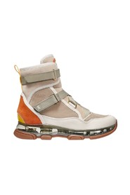Kendra leather and canvas boot with lacing