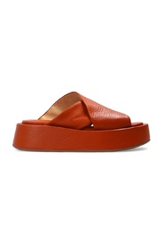 Leather platform slides