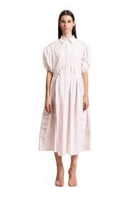 LONG SHIRT DRESS WITH PUFF SLEEVES