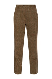 Patterned pleat-front trousers
