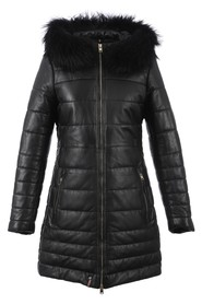 Mary Luxe Long Fur Trim Leather Coat