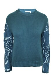 Sea Knitted Sweater with Embroidered Sleeves