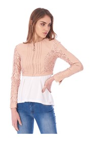 BOLERO IN FAUX LEATHER WITH LACE