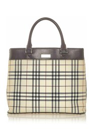 House Check Canvas Tote Bag Stoff