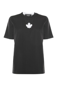 T-shirt With Contrast Canadian Leaf Print