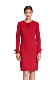 Sukienka z troczkami przy dekolcie i na rękawach