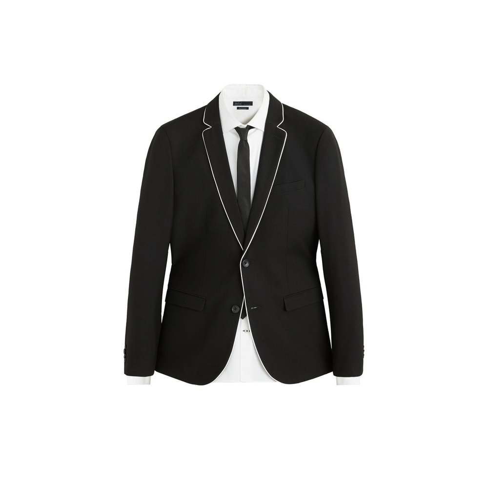 Slim-fit blazer med kontrastkanter