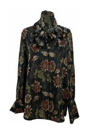 Silk Floral Print Pussybow Shirt Size 42 IT