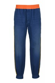 Military cotton drill trousers with buckles