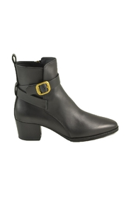 Leather Mid-Heel Ankle Boots w/Buckle