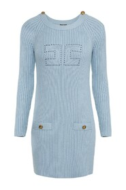Mini dress in knit fabric and perforated logo