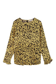 Sort Ganni Ganni Printed Crepe Blouse - Black & Yellow Bluse Og Skjorter