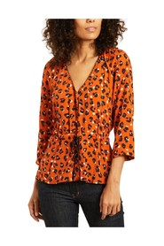 Blanche 3/4 sleeves panther pattern blouse