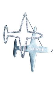 Metal Airplane Brooch with Crystals
