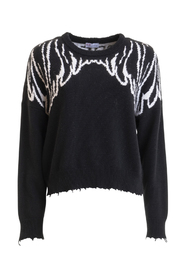 Wings intarsia destroyed sweater