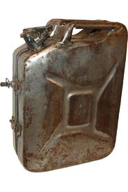 Old gasoline can as wall cabinet