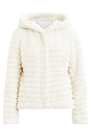 Vimaya faux fur jacket cloud dancer - VILA