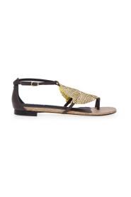 Sandalo flat in pelle con strass