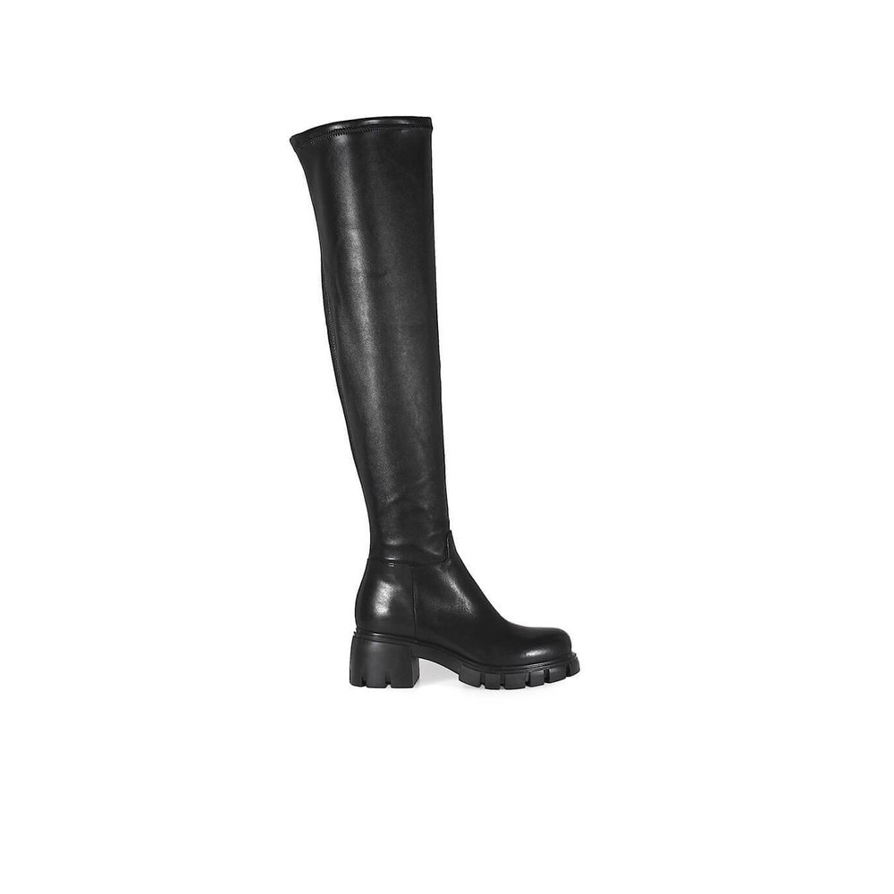 BLACK STRETCH NAPPA LEATHER CUISSARD BOOTS