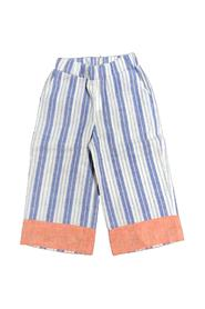 STRIPED PALAZZO TROUSERS WITH ORANGE BAND